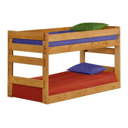 Chelsea Home - Twin Over Twin Junior Bunk Bed - NOTE: ivgStores DOES NOT offer assembly on loft beds or bunk beds.. Includes slat packs. Mattresses not included. Rustic style. Metal brackets are used to connect the rails to the headboard and footboard. Rails with 1.25 in. cleat which is glued and screwed to the rail for extra strength to support the mattress foundation. Exceed all safety standards of the consumer product safety commission. Constructed for strength and durability. Can hold up to 400 lbs. of distributed weight. Warranty: One year. Made from solid pine wood. Ginger stain finish. Made in USA. Assembly required. Distance between top and bottom bunk: 27 in.. 80 in. L x 41 in. W x 48 in. H (127 lbs.). Bunk Bed Warning. Please read before purchase.Warning: Falling hazard, bunk beds should be used by children 6 years of age and older!