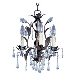 Grove-Mini Chandelier - The leaves of this grove in Oil Rubbed Bronze are accented with a crown of crystal drops and a bloom of faux wax candles.