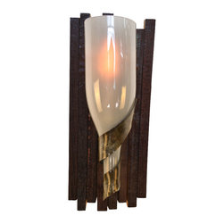 "Wine Country Craftsman - Elegance Opulent Wine Barrel Stave and Bottle Sconce - Elegance - ""Opulent"" - Wine Barrel Stave & Bottle Sconce - 100% Recycled"