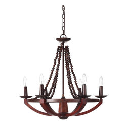 Kitchen Bath Collection - Windsor 6-Light Wood and Metal Chandelier with Faux Candles and Beaded Slings - The Windsor 6-Light Wood and Metal Chandelier with Faux Candles and Beaded Slings by Kitchen Bath Collection features: 6 faux candle lights, unique beaded slings, wood and metal construction, and UL safety certification. Requires 60W 120V bulbs (not included).