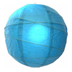 Oriental-Décor - Refreshing Aqua Blue Globe Lantern - For a colorful, ethereal glow, all you need is one of these lovely paper spheres. With this luminous lantern in your home, you'll feel calm every time you walk in the door.