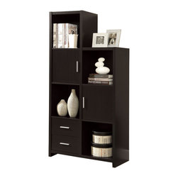 Monarch Specialties - Monarch Specialties Contemporary 68 Inch Hollow-Core Storage Cabinet - Add some functionality to your living space with this hollow-core storage unit! This modern, cappuccino finish unit has ample room for displaying pictures, decorative pieces and even books. This practical piece can face either left or right and is conveniently designed with plenty of storage space. Its sturdy structure and innovative features will definitely add visual appeal to any decor. What's included: Storage Cabinet (1).