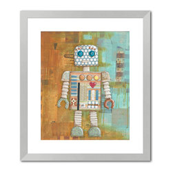 "Gallery Direct - ""Augie Bot"" Print with Silver Frame 24""X27"" - Vanessa Roeder's love for art began at a very young age. When asked what she wanted to be when she grew up, her career plan changed every week, but it always had something to do with art. She eventually found her niche painting murals, and did so for four years until the birth of her second child prompted her to stay at home full time. She began to work as a freelance artist painting children�s art and illustrating picture books under the name of Nessa Dee. Her artwork is created with a variety of media including acrylic, watercolor, and collaged elements. Vanessa lives near Austin, Texas with her husband, three children, and one rambunctious dog.�"