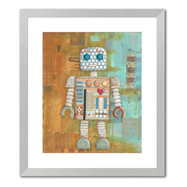 """Gallery Direct - """"Augie Bot"""" Print with Silver Frame 24""""X27"""" - Vanessa Roeder's love for art began at a very young age. When asked what she wanted to be when she grew up, her career plan changed every week, but it always had something to do with art. She eventually found her niche painting murals, and did so for four years until the birth of her second child prompted her to stay at home full time. She began to work as a freelance artist painting children�s art and illustrating picture books under the name of Nessa Dee. Her artwork is created with a variety of media including acrylic, watercolor, and collaged elements. Vanessa lives near Austin, Texas with her husband, three children, and one rambunctious dog.�"""