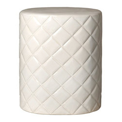 White Quilted Garden Stool - A garden seat in a sunroom helps create that seamless transition between indoors and out. Plus, we love a garden stool as a chic place to display a plant.