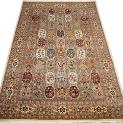 "ALRUG - Handmade Multi-colored Persian Bakhtiar Rug 5' 11"" x 9' (ft) - This Pakistani Bakhtiar design rug is hand-knotted with Wool on Cotton."