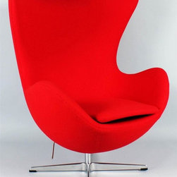 Control Brand - Jacobsen Egg Chair - Designed by Arne Jacobsen. Covered with leather upholstery. Polished aluminum base. Rocking function. Made from fiberglass frame. Red color. Floor to highest point: 42 in.. Width at the top of chair: 34.5 in.. Width at the arms: 31 in.. Floor to seat height: 17 in.. Overall: 34.25 in. W x 32.25 in. D x 41.5 in. H (132.2 lbs.)The Egg Chair was designed in 1958 for the lobby and reception areas at the Royal Hotel in Copenhagen. The Egg Chair has gone on to be one of Jacobsen's most enduring furniture designs.