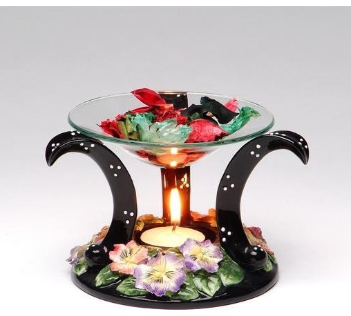 ATD - 4.5 Inch Floating Glass Tart Burner with Black Floral Design Base Set - This gorgeous 4.5 Inch Floating Glass Tart Burner with Black Floral Design Base Set has the finest details and highest quality you will find anywhere! 4.5 Inch Floating Glass Tart Burner with Black Floral Design Base Set is truly remarkable.