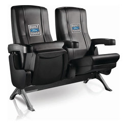 Dreamseat Inc. - Ford Built Ford Tough Row One VIP Theater Seat - Double - Check out these fantastic home theater chairs. These are the same seats that are in the owner's VIP luxury boxes at the big stadiums. It has a rocker back and padded seat, so it's unbelievably comfortable - once you're in it, you won't want to get up. Features a zip-in-zip-out logo panel embroidered with 70,000 stitches. Converts from a solid color to custom-logo furniture in seconds - perfect for a shared or multi-purpose room. Root for several teams? Simply swap the panels out when the seasons change. This is a true statement piece that is perfect for your Man Cave, Game Room, basement or garage.