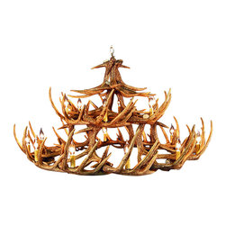 Muskoka Lifestyle Products - Rustic Whitetail Antler Chandelier - 30 Antlers 18 Lights - Our Rustic Whitetail 30 Antler Chandelier is the best faux antler chandelier available on the market. We have taken our replication process from our other rustic decor items and matched the authentic finish. Real antlers are used to model the reproduction for an exact and comparable result. The process to create the antler chandeliers uses a time proven, cast resin system to ensure perfection in every piece. We have hand-stained and antiqued each antler to achieve the exact comparable match to the real antler. Bring the perfect rustic decor to your home, cabin, or office with these antler chandelier reproductions. From the large majestic options to the quiet accent lights, our reproduction antler chandeliers are perfect for entry ways, pool tables, dining room tables, living rooms, offices, or anywhere you want to hang them to create the perfect, natural look in any room. All antler chandeliers are UL listed to ensure absolute safety, quality, and US building code parameters are met.