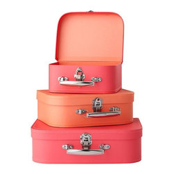 Bon Voyage Suitcase Set, Pink/Peach, Set of 3 - These would look adorable on a dresser. I love that they look like mini suitcases.