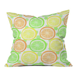 DENY Designs - Lisa Argyropoulos Citrus Wheels And Dots Throw Pillow - Wanna transform a serious room into a fun, inviting space? Looking to complete a room full of solids with a unique print? Need to add a pop of color to your dull, lackluster space? Accomplish all of the above with one simple, yet powerful home accessory we like to call the DENY throw pillow collection! Custom printed in the USA for every order.