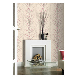 Graham & Brown - Vitality Floral Wallpaper - Subtle watercolor effects and pretty floral details are added to a silhouette sprig design with iridescent highlights.