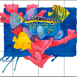 The Tile Mural Store (USA) - Tile Mural - Pb- Spotted Box Fish - Kitchen Backsplash Ideas - This beautiful artwork by Paul Brent has been digitally reproduced for tiles and depicts a spotted box fish.  This tile mural featuring fish and sea life would be perfect as a part of your kitchen backsplash tile project or your tub and shower surround bathroom tile project. Images of tropical fish on tile make a fantastic kitchen backsplash idea and are great to use in the bathroom too for your shower tile project. Consider a tile mural of sealife and fish for any room in your home where you want to add wall tile with interest.
