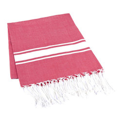 Handmade 100% Cotton Tunisian Fouta Hammam Towel, Red - Bright and light, a fouta is a textile derivative of the traditional hammam towels of Turkey and North Africa. It is large enough for one person to use it as a beach towel. The foutas are made of lightweight cotton and roll up tightly, perfect for tucking in a bag and taking with you. Plus, they're as absorbent as traditional terry-cloth towels, and they dry quickly, too.