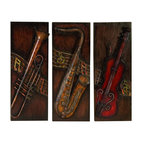 Benzara - Metal Wall Decor - Set of 3 - Wall decor with great utility. Support your existing wall decor with 56533 Metal WALL DECOR Set of 3 Assorted. It is an excellent anytime low priced wall decor upgrade option matching your passion for music. Just have a look over, you will fall in instant love with its beauty.