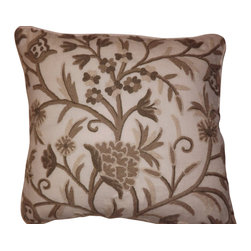 Crewel Fabric World - Crewel Pillow Tree of Life Neutrals on Natural White Wool 18x18 Inches - Artisans in a remote mountain village in Kashmir crewel stitch these blossoms, vines and leaves by hand, resulting in a lush pattern of richly shaded wool yarns on Linen, Cotton, Velvet, Silk Organza, Jute. Also backed in natural linen, Cotton, Velvet Silk Organza, Jute with a hidden zipper.