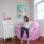 "Bean Bag Chairs for Girls Rooms - Ahh! Products pink camouflage anti-pill fleece bean bag chair. Remove and wash cover, water-repel liner. 37"" wide large size. 10 year warranty, Made in USA."