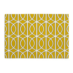 Yellow Modern Trellis Custom Placemat Set - Is your table looking sad and lonely? Give it a boost with at set of Simple Placemats. Customizable in hundreds of fabrics, you're sure to find the perfect set for daily dining or that fancy shindig. We love it in this rounded trellis in yellow & white on soft lightweight line. your gateway to a chic modern look.