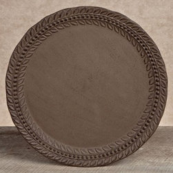 GG Collection Grazia Metal Chargers - Set of 4 - This Gerson GG Collection Gracious Goods Grazia Metal Chargers – Set of 4 decorative underplates sets a beautifully earthy backdrop for formal dinners. Constructed from durable cast aluminum in a rustic brown finish with an embossed leaf design around its raised borders, this set includes four matching chargers with a 14 in. diameter, a versatile size for salad, appetizer, and dinner plates.