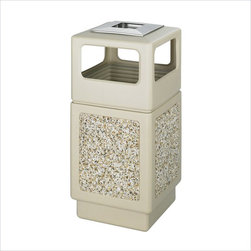 "Safco - Safco Canmeleon Aggregate Panel 38-Gallon Trash Can with Ash Urn in Beige - Safco - Smoking Urns / Ashtrays - 9473TN - Looking for a receptacle that blends in with any environment? The striking molded-in stone aggregate will add beauty to your ""First Impression"" areas. Molded from high density polyethylene with built-in UV inhibitors. The telescoping base hides bag and it has an attractive design with recessed bottom. 38-gallon capacity; uses standard 32"" x 44"" trash bags. Easily adaptable for anchoring or weighting devices."