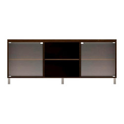 Howard Miller Custom - Lucy Cabinet w 2 Glass Doors in Espresso - This cabinet is finished in Espresso on select Hardwoods and Veneers, with Nickel hardware. 2 Glass doors without frames. 3 adjustable interior shelves. Flat profile top and metal leg base. Features soft-close doors and metal shelf clips. Simple assembly required. 70 1/2 in. W x 21 3/4 in. D x 29 1/4 in. H