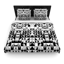 "Kess InHouse - Nika Martinez ""Geometrie Black & White"" Gray Cotton Duvet Cover (Queen, 88"" x 88 - Rest in comfort among this artistically inclined cotton blend duvet cover. This duvet cover is as light as a feather! You will be sure to be the envy of all of your guests with this aesthetically pleasing duvet. We highly recommend washing this as many times as you like as this material will not fade or lose comfort. Cotton blended, this duvet cover is not only beautiful and artistic but can be used year round with a duvet insert! Add our cotton shams to make your bed complete and looking stylish and artistic!"