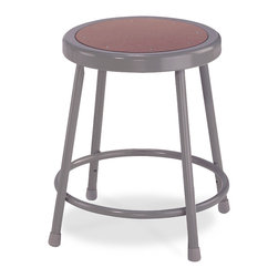 National Public Seating - National Public Seating 18 Inch Gray Frame Stool Hardboard Seat in Brown - National Public Seating's 6200 Series heavy-duty grey steel stool is a comfortable, durable and attractive addition to any art room, science lab or classroom. The scratch-resistant black finish adds a contemporary touch to one of NPS's most popular stools. Each stool has sturdy legs made of 18-gauge steel tubing plus a foot ring that is welded to the stool at four different points for extra stability. Eight rivets on the Masonite seat prevent warping. Plastic glides keep your stool level and won't mar floors. Meets or exceeds ANSI/BIFMA standards. This National Public Seating 6200 Series heavy-duty black steel stool has a fixed height of 18 inch and comes backed by a 10-year warranty.