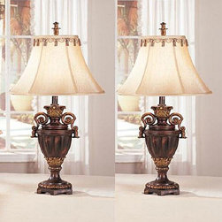 None - Empris 32-inch Lamps (Set of 2) - Take your d_cor to new heights with this table lamp set featuring a rich, antique finish and an opulent design that will stand out in your traditional home. The gorgeous silk shades evoke a European feel on this gorgeous pair of lamps.