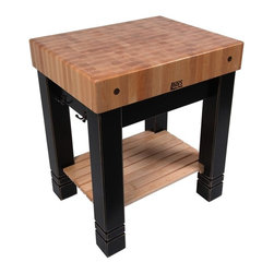 John Boos - Butlers Block Table (Sporty Blue) - Color: Sporty BlueIncludes 2 bronze towel hooks on each side of apron. Natural slatted shelf. 5 in. Thick end grain hard maple top. Pictured in Black. 24 in. L x 5 in. W x 30 in. H (188 lbs.)