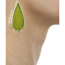 Green scuttle earrings available only at Pernia's Pop-Up Shop.