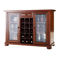 Crosley Furniture - Crosley Alexandria Sliding Top Bar Cabinet in Classic Cherry - Crosley Furniture - Home Bars - KF40002ACH