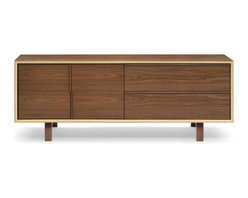 Cherner - Cherner 2 Drawer and Cabinet Credenza - The Cherner 2 Drawer and Cabinet Credenza is a recent addition to Cherner's stable of mid-century plywood furniture, but it doesn't look one bit out of place. Two doors and two drawers provide storage space, while Walnut veneer and handcrafted joinery show the credenza's quality.