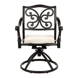 None - La Mariposa Black Cast Aluminum Swivel Chairs (Set of 2) - Add comfortable seating to your patio table or front porch with these Mariposa swivel chairs. These stylish black chairs feature an ornate butterfly scrolling on the seat back and are finished with comfortable white cushions.
