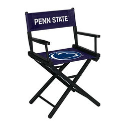 Imperial International - Penn State University NCAA Directors Chair - Table Height - Take a look at this great Table-Height Director's Chair. It has black stained hardwood, paddle arms, and a straight line leg rack. It's custom manufactured for you in the heart of Tennessee. It's perfect for your Man Cave, Game Room, Garage or Basement. Logos are screen printed on the back and seats of a high quality 16oz duck cloth canvas. Suitable for indoors and outdoors.