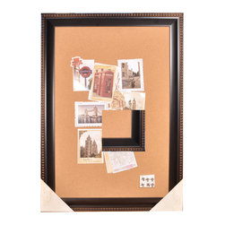 Enchante Accessories Inc - Distressed Wood Framed Wall Message Cork Board 24 x 36  Bronze - Wood framed wall message cork board