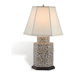 Kathy Kuo Home - Double Flower Canton Beige Light Brown Asian Tea Jar Lamp - Chinese floral motif porcelain lamps just seem to work wherever you place them-and this beauty certainly proves it! From French Country to modern traditional, this classic Asian ceramic lamp spreads style and light.