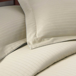 Colonial Home Textiles - Champagne Stripe 800-Thread Count Duvet Set - This lovely set turns any mattress into a masterpiece within moments thanks to a luxuriously soft and stylish color and construction. The matching shams put the fininshing touch on this sweet dream.   Includes duvet cover and two shams 55% cotton / 45% polyester 800-thread count Machine wash; tumble dry Imported