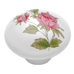Hickory Hardware - English Cozy Pink Rose Cabinet Knob - A rustic elegance is characteristic of this look.  Elements have a handmade, forged metal quality.  Some pieces look as if they were bought in antique shops.