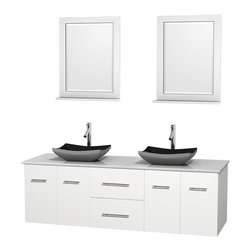 "Wyndham Collection - Centra 72"" White Double Vanity, White Man-Made Stone Top, Black Granite Sinks - Simplicity and elegance combine in the perfect lines of the Centra vanity by the Wyndham Collection. If cutting-edge contemporary design is your style then the Centra vanity is for you - modern, chic and built to last a lifetime. Available with green glass, pure white man-made stone, ivory marble or white carrera marble counters, with stunning vessel or undermount sink(s) and matching mirror(s). Featuring soft close door hinges, drawer glides, and meticulously finished with brushed chrome hardware. The attention to detail on this beautiful vanity is second to none."