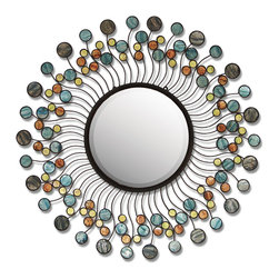 Palecek - Blue Capiz Mirror - Steel wire frame in sun design with capiz shell details. Keyhole hanger. Beveled mirror. This is a delicate piece that is crated and shipped via delivery truck. Therefore there is an additional $50 delivery fee.