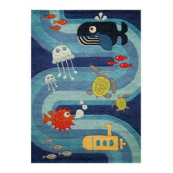 Grandin Road - Under The Sea Area Rug - 2'x 3' - Adorable and plush handcarved area rug. Hand-tufted construction. 100% modacrylic. Extend the life of your rug with a Nonslip Rug Pad (sold separately). Let your imagination go for a swim: our sculpted Under The Sea Indoor Area Rug invites a colorful group of sea creatures and a vibrant ocean current to take the floor of your child's playroom or nursery.. . . .