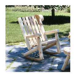 "Rustic Cedar - High Back Cedar Log Rocker - Enjoy the present while celebrating the past in this remarkably comfortable Cedar Log High Back Rocker.  Crafted with traditional attention to detail from aromatic Cedar, this charming rocker will be a popular addition to your front porch, back patio, or both!  Enjoy the fresh air of the outdoors while relaxing on this attractive, durable rocking chair.  Excellent craftsmanship coupled with high quality light cedar make this rocker perfect for small decks and country estates.  Let the good times roll in your Light Cedar High Back Rocking Chair. * 37"" x 26"". Weight: 45lbs.Let the good times roll in your Light Cedar High Back Rocking Chair.  Enjoy a glass of Arneis while inhaling the scents of grilling halibut and sunshine.  Scrupulous detail and modern practicality make this a fine, timeless piece."