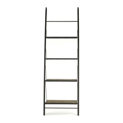 Kathy Kuo Home - Martina Industrial Loft Reclaimed Wood Ladder Bookcase - L - This large ladder bookcase is practically indestructible, with its solid reclaimed wood shelving and antiqued metalwork, yet it strikes a delicate silhouette. The open design of the shelving gives you plenty of options for placement and storage within a rustic home or modern loft. Or, line a few of these bookcases side-by-side for a more dramatic look and even more storage.