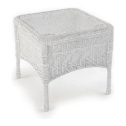 Forever Patio - Rockport Wicker Patio End Table, White Wicker - Complete the look and functionality of your Rockport patio set with the equally beautiful Rockport End Table (SKU FP-ROC-ET-WH). Its UV-protected White wicker and round-weave design creates a cheery, traditional look that is made to last. This table also includes a tempered glass top, providing a beautiful and durable surface that is easy to maintain.
