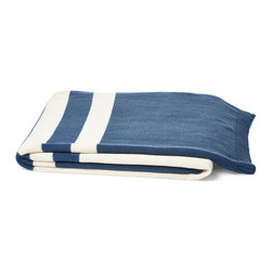 5 Surry Lane - Luxury Cotton Knit Stripe Throw/Blanket, Slate Blue - As thick and cozy as a favorite sweater, our striped cotton knit throw adds irresistible warmth to a bed or armchair.