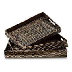 Palecek - Nito Coil Rectangle Trays, Set of 3 - Rattan frame with nito vine wrap in hand-crafted coil weave. Finished in a smoky brown tone.