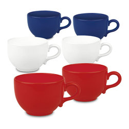 Waechtersbach - Set of 6 Fun Factory Jumbo Cups - Red, White & Blue - This patriotic 'Red, White & Blue' Set of 6 Jumbo Cafelatte Mugs is made from high-fired ceramic. Perfect for the Fourth of July or other national holidays.