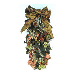 Frontgate - Linville Swag - Indoor swag of multi-colored florals and metallics. For use as a centerpiece or hang on walls and doors. Crafted of dried multi-colored hydrangea flowers, two tone berries, and lush foliage. Includes luminous metallic copper and gold leaves with pine cones. Ideal base for candles, cake stands, and hurricane lamps. Savor summer's bloom year round with an indoor floral wreath or swag bursting with dried multi-colored hydrangea and glistening metallic leaves. The vibrant colors add festive cheer to holiday celebrations and brighten everyday room decor. Versatile swag is also perfect as a decorative centerpiece to accent holiday candles, cake stands, and hurricane lamps. A bright and cheery addition to welcome any season.  .  .  .  .  . Frontgate exclusive . Two style choices . Made in the USA.