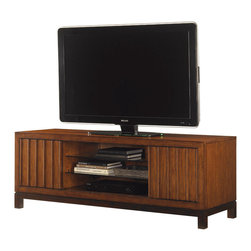 Lexington - Lexington Ocean Club Intrepid Entertainment Console 536-907 - The vertical slats of the two sliding doors create visual balance with the four adjustable shelves and allows the viewer to choose what is exposed.